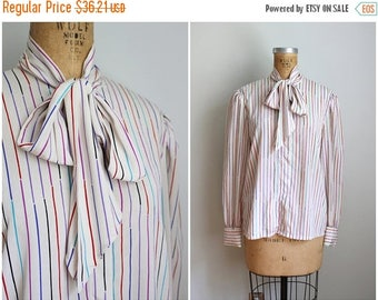 SPRING SALE vintage 80s striped pussy bow blouse - silky 80s blouse / neck bow blouse - multi color stripe blouse / 80s secretary blouse - b