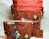 """New! 2 Piece Set """"Christmas Cheer"""" Drawstring Project Bag & Zippered Notions Pouch"""