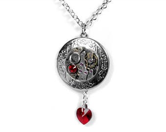 Steampunk Jewelry, Silver Locket Necklace, Vintage Watch, Swarovski RED Crystal Heart, JULY Birthstone, Mothers Day - by Steampunk Boutique