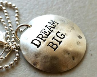 SALE Dream Necklace, Dream Big Necklace, Grad Necklace, High School Graduation Necklace, Grad Necklace, Graduation Gift,