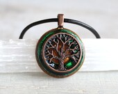 forest green tree of life necklace, tree necklace, mens necklace, celtic jewelry, unique gift, mens gift, mens jewelry, nature necklace