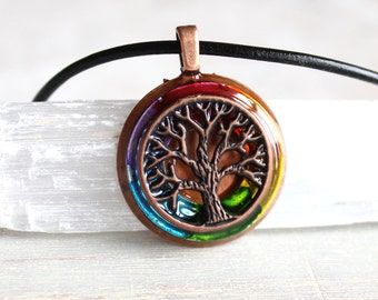 rainbow tree of life necklace, tree necklace, mens necklace, celtic jewelry, unique gift, mens gift, mens jewelry, nature necklace, oak tree