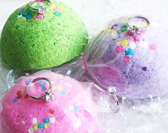 RING BLING BOMB! Candy for Bath Tub Fun with Surprise Diamond Ring Inside!  Party Favor - 5 oz Bath Fizz Jewelry Bomb! Prize Fun Gift Mom