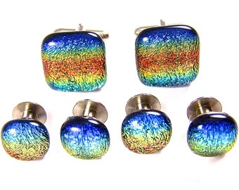"Dichroic Tuxedo Studs Cuff Links Set - Blue Orange Yellow Teal Rainbow Striped Patterned - 1/4"" & 3/4"" Fused Glass Men Groom Groomsmen"