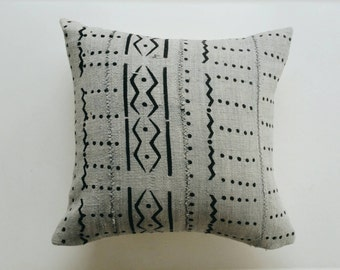 Gray and Black Mudcloth Pillow Cover - Grey Throw Pillow - Modern Tribal Bohemian Decor