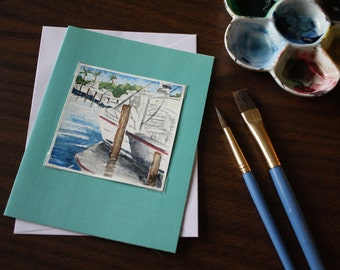 Miniature 3x3 Original Watercolor Note Card Boats in the Marina
