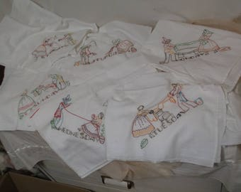 Days of Week Kitchen, Tea Towels, Feed Sack Cotton, Hand Embroidered, Thursday Missing