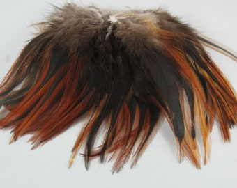 Furnace Feathers strung Saddle   SS-05   Natural 5 to 6 inches