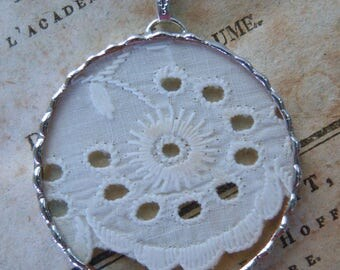 Fiona & The Fig -  Antique Victorian-Eyelet Lace Charm -  Necklace - Pendant - Jewelry