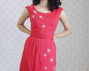 50s 60s Vintage Beaded Wiggle Dress// VLV Starburst Dress// Pinup pink late 1950s early 1960s Rockabilly Evening Dress//