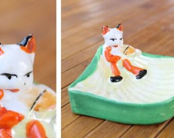 Vintage CAT Fiddle Lustreware Glaze Ceramic Carnival Trinket DISH Ashtray Made in Japan