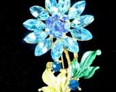 Christmas Sale Vintage Aurora Borealis Aqua Blue Rhinestone Flower Pin Aqua Blue and AB Blue rhinestones