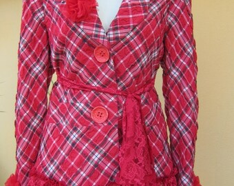 20%OFFplusREFUND SHIPPING vintage inspired red checkered jacket with ruffles of lace and vintage roses....