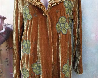 """20%OFF bohemian vintage boho lush silk rust velvet with embroidered detail jacket....medium to 42"""" bust.."""