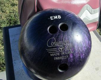 "Vintage Bowling Ball - Purple Columbia 300 Bowling Ball - ""EMB"" Initials Engraved Vintage 80s Purple Metallic Swirled Finish Bowling Ball"