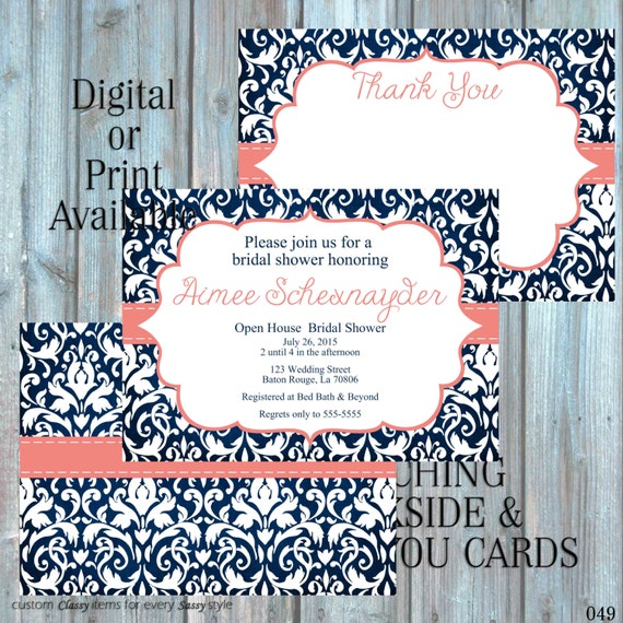 Bridal Shower invitation, Damask Invitation Classic Tea party Shower, Navy Invitation, Tea pArty Luncheon Bridal Shower 049