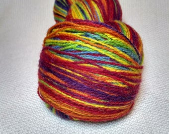 KAUNI Wool Yarn, 2ply, Fingering, Self-Striping Rainbow