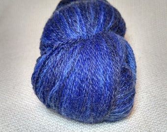 Kauni Wool Yarn Color ET, Self-Striping, Denim Art,  Mega-Yardage Deep Blue, Blue and Light Blue