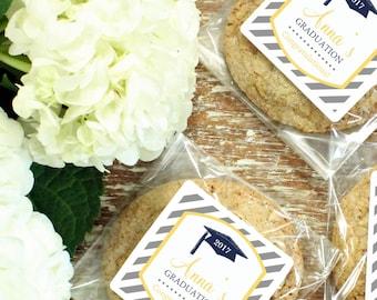 Graduation Favor Cellophane Bags - Graduation Cap Label - ANY COLOR - Graduation Party Favors   Graduation Cookie Favors - Set of 24