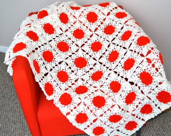 Vintage Afghan Red Granny Squares on Snow White