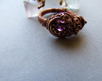 Purple Copper Ring, Woodland Viola Ring, Elvish Inspired, Folk, Bohemian, Glass Purple Crystal Ring