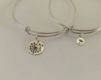 Silver Dandelion Mother Daughter Bracelet Set | Mommy Jewelry | Flower Mother Daughter Jewelry Set Adoption Gift | Gift For Mom