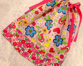 Girls Pillowcase Dress - Birds Hearts and Flowers - Pinks - Sizes 18 Months through 10 Years