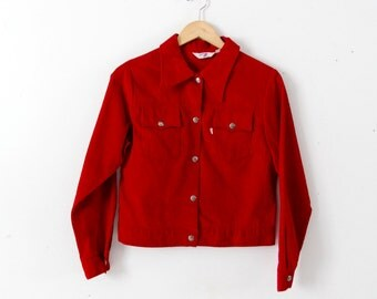 1960s Levi's corduroy jacket, Big E red cord jacket, Levi's for Gals