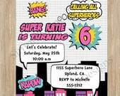 SALE Superhero Invitation Girl Super hero Invite Printable Digital