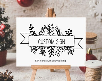 Custom Christmas Holiday Sign, Holiday Party Sign, Winter Wedding, Rustic Foliage - 5 x 7 inches, Printed Sign, HAN