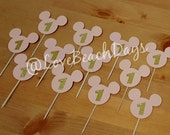 Glitter Minnie Mouse Cupcake Toppers/12 pack 1st Birthday Glitter Cupcake Toppers, Food Decorations