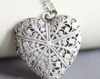 ON SALE Locket Necklace,Jewelry,Pendant, Heart Filigree Locket,Floral Silver Locket,Antique Style,Flower Locket,Wedding Necklace,bridesmaid