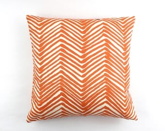 ON SALE Quadrille Alan Campbell Zig Zag Pillow Orange on Tint (Both Sides) 22 X 22