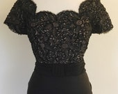 Emma Domb vintage 1950s cocktail wiggle dress black with sequins lace nude effect and draped back L VLV rockabilly