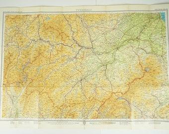 Vintage map of Scottish Borders (Tweeddale), Bartholomew's 1959 Scottish map