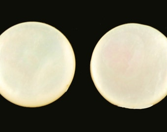 """Art Deco 835 Sterling Mop Mother of Pearl Button Clip Earrings .5"""""""