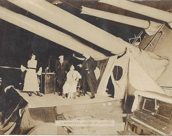 Antique Real Photograph Post Card US Navy Ship Minstrel Show Undivided Unused