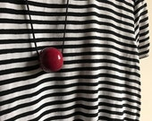 Polymer clay red single bead necklace - Christmas present