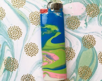 Lime Green, Pink and Blue Marbled  Lighter / Colorful Decorated BIC Lighter