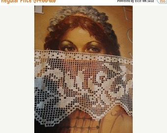 2016 SALE 1920's Antique Cotton Off White Filet Lace Trim Piece Handmade Lace Bridal Accessories Romantic Lace Blouse Top