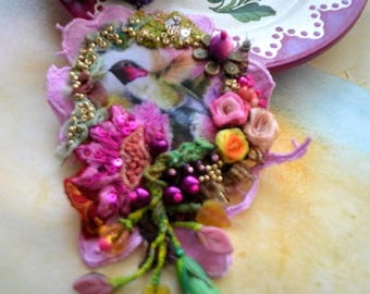 Beautiful gypsy romantic brooch fairy textile art jewelry embroidery tattered shabby chic broch Spring Love