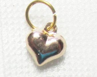 Nail Dangle/Charm - ONE 14K Yellow Gold Puff Heart w/ 5mm GF Jump Ring