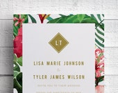Tropical Wedding Invitations, Hawaii Wedding Invite, Beach Wedding, Maui Wedding, Destination Wedding, Printed, Hibiscus, Palm Leaf