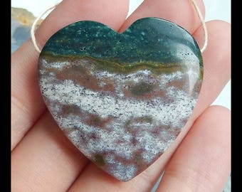 Natural Ocean Jasper Gemstone Heart Pendant Bead,35x8mm,14.6g(e0927)