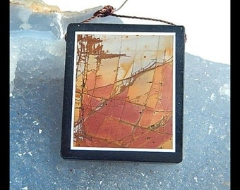 Obsidian,Multi-Color Picasso Jasper Intarsia Pendant Bead,37x32x6mm,18.2g