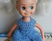 """Vintage Kitsch Creepy Cute, blonde, pigtails Perfecta doll, 1960's, handmade crochet outfit,""""Little sophisticate?"""""""