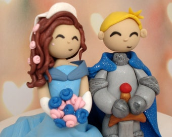 Custom Wedding Cake Topper Fairy Tale Wedding Princess and Knight Cake Topper Bridal Shower Cake Topper Groom's Cake Topper Wedding Decor
