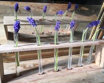 Test Tube Vase, Rustic Wedding Vases, Glass Test Tube Rack, Wedding table decor, Bud Vases, Rustic Wood Vase, wedding centerpiece,