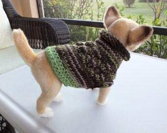"Dog Sweater Hand Knit xxxsmall  Toy Chihuahua 7"" long"