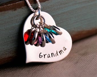 Mother's Day Gift / Hand Stamped Jewelry / Personalized Grandma jewelry / Grandmother necklace with birthstones / Gift for Mom or Grandma